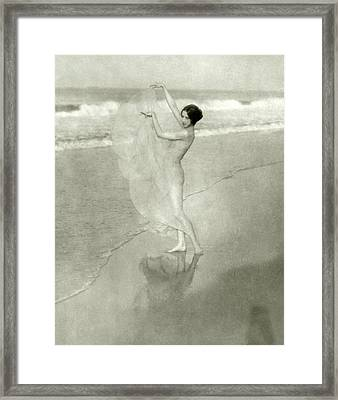Margaret Severn On A Beach Framed Print by Arnold Genthe