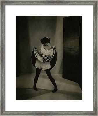 Margaret Severn Pulling Up Her Skirt Framed Print