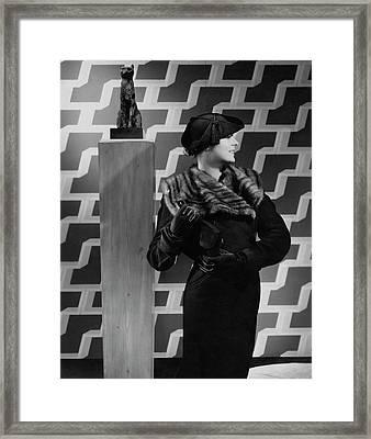 Margaret Shea Johnson By A Cat Sculpture Framed Print
