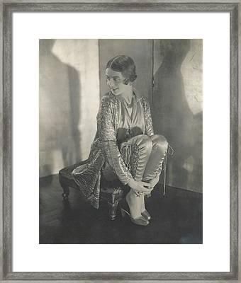Margaret Shea Sitting On A Footrest Wearing Framed Print
