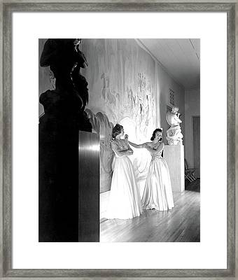 Margery Abbet And Patricia Delehanty At The River Framed Print
