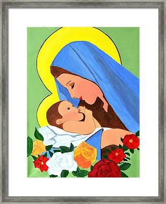 Framed Print featuring the painting Maria And Baby Jesus by Magdalena Frohnsdorff