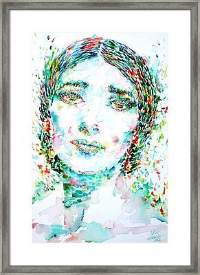 Maria Callas - Watercolor Portrait.1 Framed Print by Fabrizio Cassetta