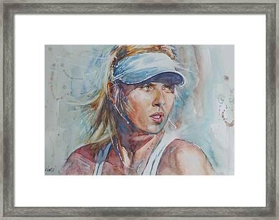 Maria Sharapova - Portrait 1 Framed Print by Baresh Kebar - Kibar