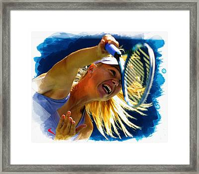 Maria Sharapova  In Action During The Women's Singles  Framed Print by Don Kuing