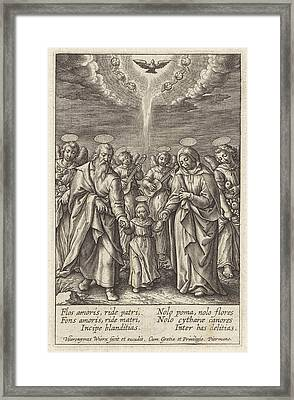 Maria With Her Parents Joachim And Anna, Hieronymus Wierix Framed Print