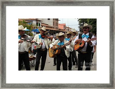 Mariachis At The Fiesta De San Jose Framed Print by Linda Queally