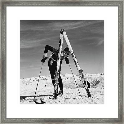 Marian Mckean With Skis Framed Print