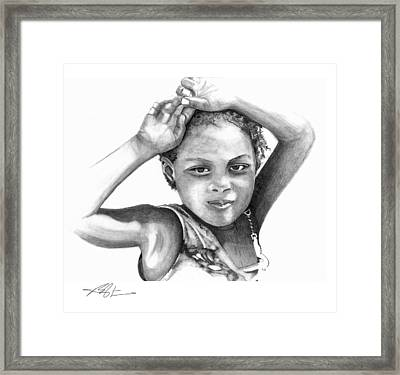 Framed Print featuring the drawing Mariane by Bob Salo