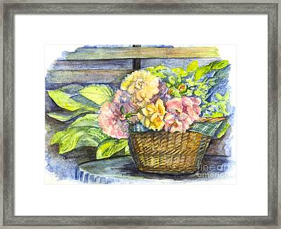 Marias Basket Of Peonies Framed Print