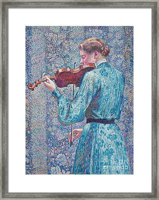 Marie Anne Weber Playing The Violin  Framed Print by Theo van Rysselberghe