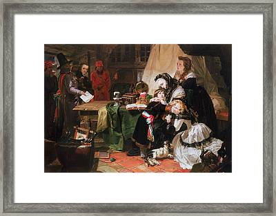 Marie Antoinette And Her Children Oil On Canvas Framed Print by Edward Matthew Ward