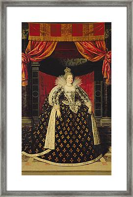 Marie De Medici 1573-1642 In Coronation Robes, C.1610 Oil On Canvas Framed Print by Frans II Pourbus