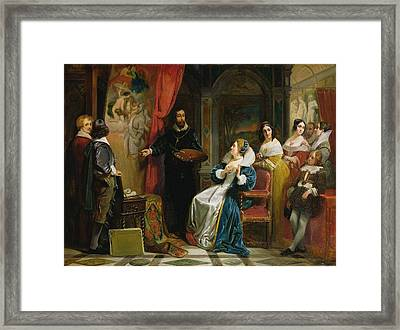 Marie De Medici 1573-1642 Visiting The Studio Of Rubens, 1839 Oil On Canvas Framed Print by Claude Jacquand