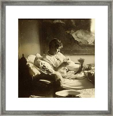 Marie Jordan Dressed Sitting In Bed With A Cup In Her Hands Framed Print