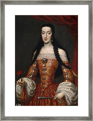 Marie-louise Of Orleans. Queen Of Spain Framed Print by Jose Garcia Hidalgo
