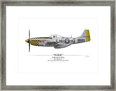 Marie P-51 Mustang - White Background Framed Print by Craig Tinder