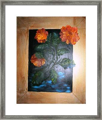 Marigolds Framed Print by Karen Lipek