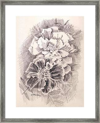Framed Print featuring the painting Marigolds by Linda Feinberg