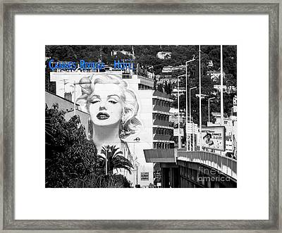 Framed Print featuring the photograph Marilyn In Cannes by Jennie Breeze