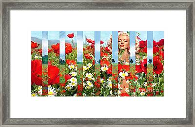 Marilyn In Poppies 1 Framed Print