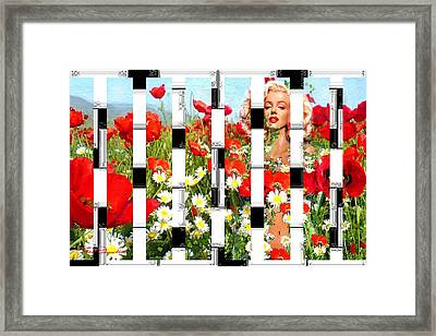 Marilyn In Poppies 2  Framed Print