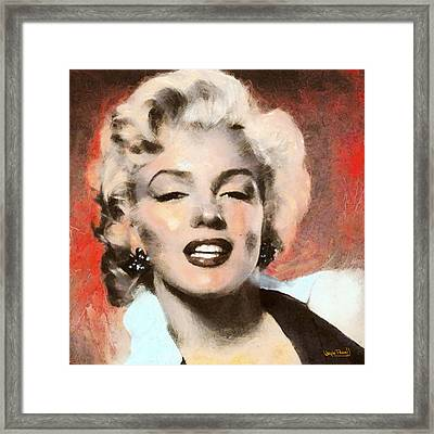 Marilyn In Retro Color Framed Print by Wayne Pascall