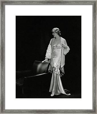 Marilyn Miller Wearing A Satin Dress Framed Print by Toni Von Horn