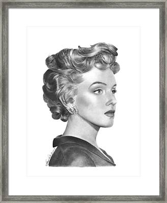 Framed Print featuring the drawing Marilyn Monroe - 014 by Abbey Noelle