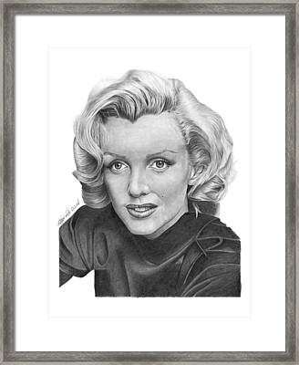 Framed Print featuring the drawing Marilyn Monroe - 025 by Abbey Noelle
