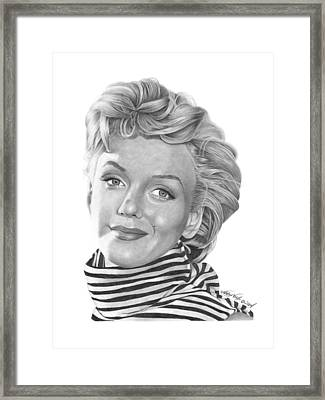 Framed Print featuring the drawing Marilyn Monroe - 029 by Abbey Noelle