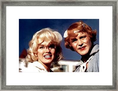 Marilyn Monroe And Jack Lemon Portrait Framed Print