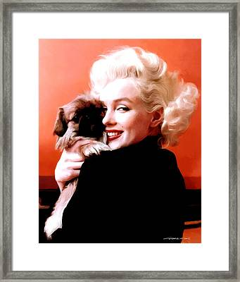 Marilyn Monroe And Pekingese Portrait Framed Print