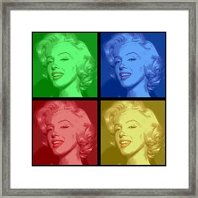 Marilyn Monroe Colored Frame Pop Art Framed Print by Daniel Hagerman