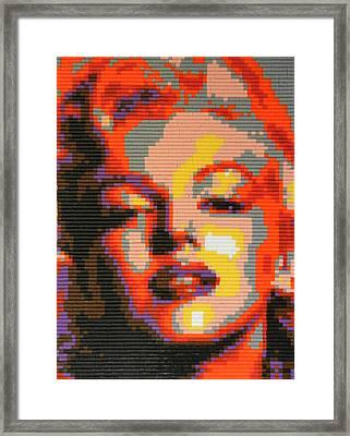 Marilyn Monroe - Hama Pearls Framed Print by Samuel Majcen
