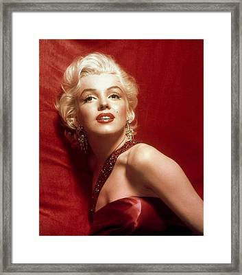 Marilyn Monroe In Red Framed Print by Georgia Fowler
