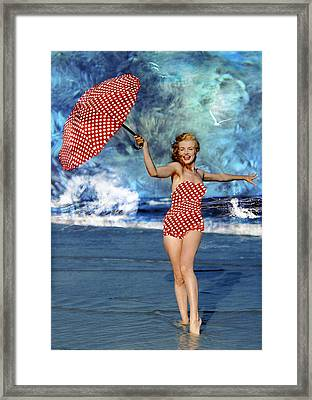 Marilyn Monroe - On The Beach Framed Print