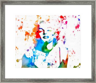 Marilyn Monroe Paint Splatter Portrait Framed Print