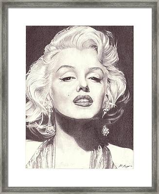 Marilyn Monroe Portrait Drawing Framed Print