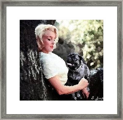 Marilyn Monroe Pug Love Framed Print by Shaunna Juuti