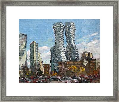 Marilyn Monroe Towers In Mississauga Framed Print by Ylli Haruni