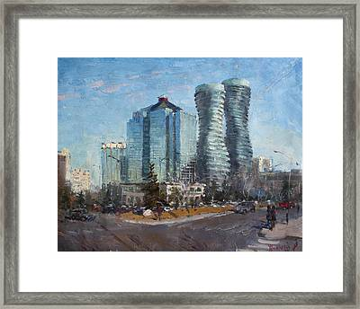 Marilyn Monroe Towers Framed Print by Ylli Haruni