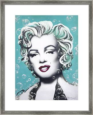 Marilyn Monroe Turquoise Framed Print by Alicia Hayes
