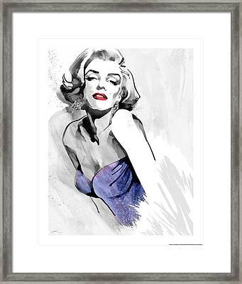 Marilyn's Pose Purple Dress Framed Print
