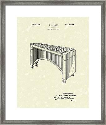 Marimba 1936 Patent Art Framed Print