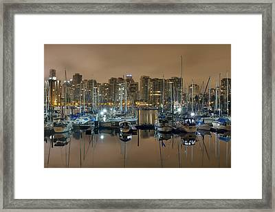 Marina Along Stanley Park In Vancouver Bc Framed Print by David Gn