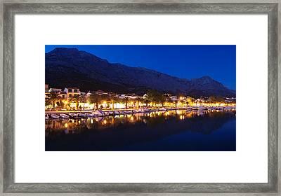 Marina At Night, Baska Voda, Biokovo Framed Print by Panoramic Images