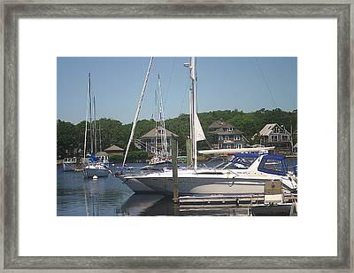 Framed Print featuring the photograph Marina At Woods Hole Ma by Suzanne Powers