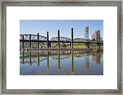 Framed Print featuring the photograph Marina By Willamette River In Portland Oregon by JPLDesigns