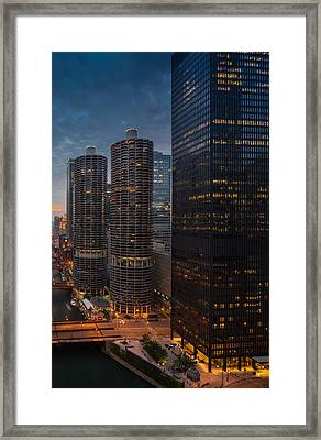 Marina City And A M A Plaza Chicago Framed Print by Steve Gadomski